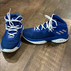 Blue adidas basketball shoes